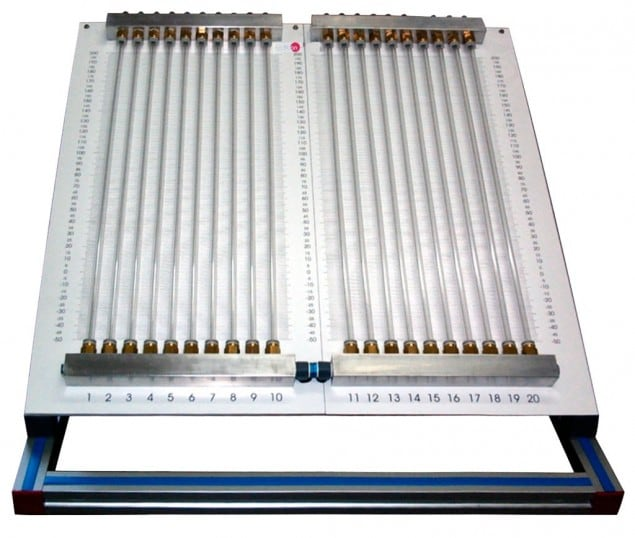 INCLINED MULTIMANOMETER WITH 20 MANOMETRIC TUBES OF 250 MM LENGTH - HMM-I1000