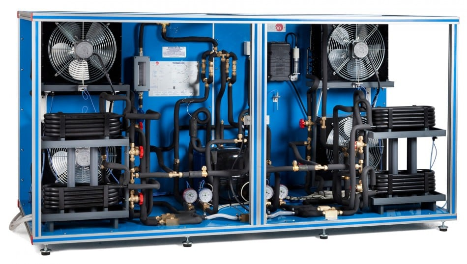 RERVERSIBLE HEAT PUMP + AIR CONDITIONING + REFRIGERATION WITH 4 CONDENSERS AND 4 EVAPORATORS (WATER/AIR) - THIBAR44B