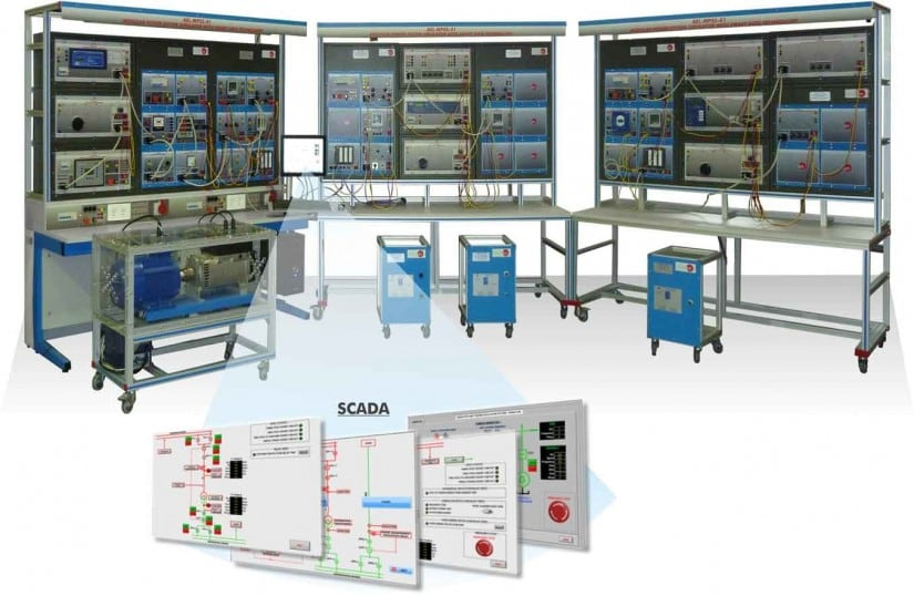 PARALLEL POWER GENERATION SYSTEM WITH TWO GENERATORS, TWO DISTRIBUTION LINES AND LOADS, WITH SCADA - AEL-CPSS-03S