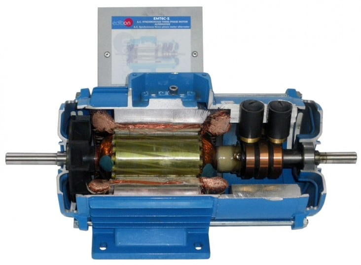 CUTAWAY PERMANENT MAGNETS 3PH SYNCHRONOUS MOTOR-GENERATOR, 8 POLES, 24 VAC - EMT6C-S